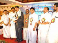 Receiving Keerthipatra from Mr.Abdurahman Randathani MLA